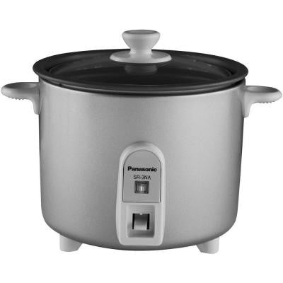 1.5-Cup Mini Rice Cooker with Glass Lid in Silver