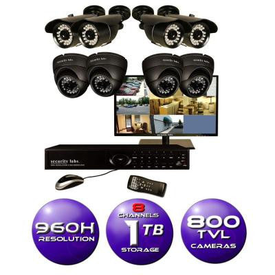 8-Channel 960H Surveillance System with 1TB HDD (8) 800 TVL Cameras and 19 in. LED HD Monitor