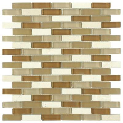Tessera Subway Latte 11-3/4 in. x 11-3/4 in. x 8 mm Glass and Stone Mosaic Wall Tile