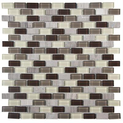 Spectrum Mini Subway Aegis 11-1/4 in. x 11-3/4 in. x 4 mm Glass and Stone Mosaic Wall Tile