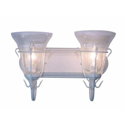 2-Light White Country Italian Double Sconce