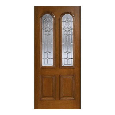 36 in. x 80 in. Mahogany Type Prefinished Cherry Beveled Zinc Twin Arch Glass Solid Wood Front Door Slab