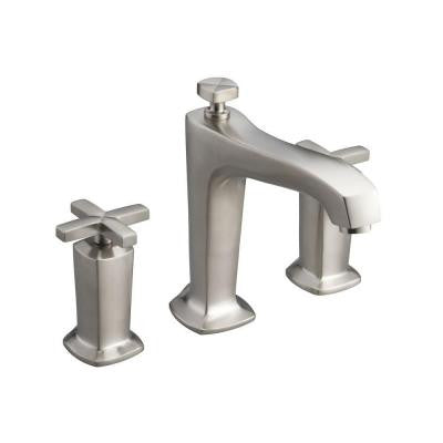 Margaux Deck-Mount High-Flow Bathroom Faucet Trim Kit with Cross Handles in Vibrant Brushed Nickel (Valve Not Included)