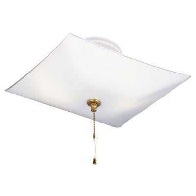2-Light White Interior Ceiling Semi-Flush Mount Light with Pull Chain and White Glass