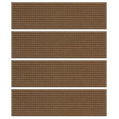 Dark Brown 8.5 in. x 30 in. Squares Stair Tread (Set of 4)