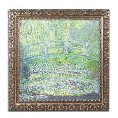 "16 in. x 16 in. ""Waterlily Pond-The Bridge II"" by Claude Monet Framed Printed Canvas Wall Art"