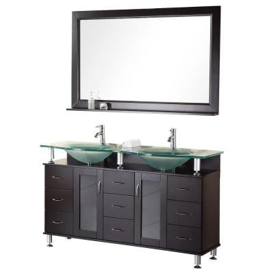Redondo 60 in. W x 22 in. D Vanity in Espresso with Glass Vanity Top and Mirror in Aqua
