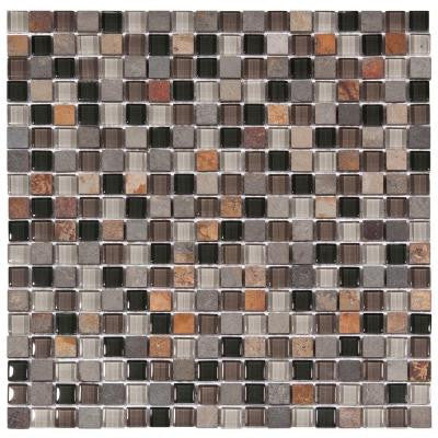 Tessera Mini Stonehenge 11-3/4 in. x 11-3/4 in. x 8 mm Glass and Stone Mosaic Wall Tile