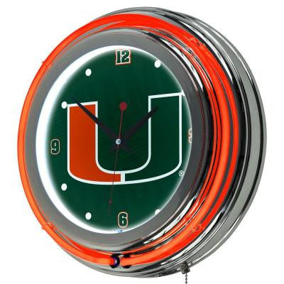 University of Miami 14 in. Round Wordmark Neon Wall Clock