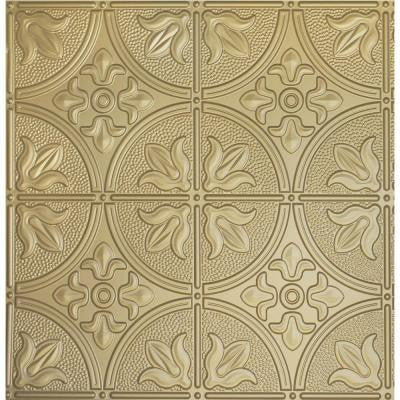 Dimensions 2 ft. x 2 ft. Brass Ceiling Tile for Refacing in T-Grid Systems