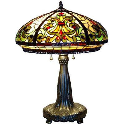 25 in. Antique Bronze Classic Stained Glass Table Lamp with Pull Chain