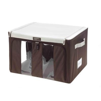 Collapsible X-Large Storage Bin with Handles in Brown and White