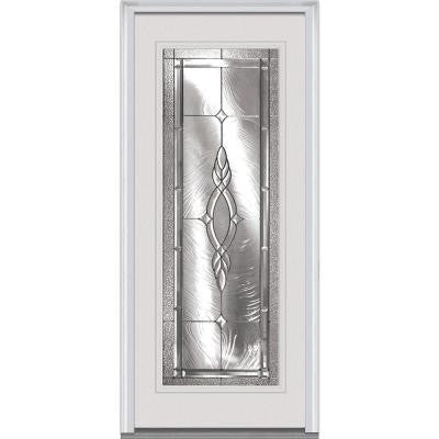 32 in. x 80 in. Brentwood Decorative Glass Full Lite Primed White Fiberglass Smooth Prehung Front Door