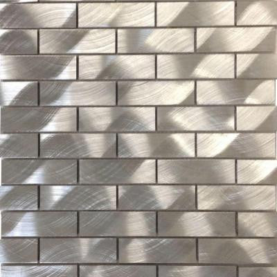 Urban Silver Aluminum Mosaic Tile - 3 in. x 6 in. Tile Sample