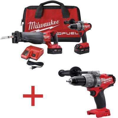 M18 FUEL 18-Volt Brushless Hammer Drill/SAWZALL Reciprocating Saw XC Combo Kit with Free M18 1/2 in. Hammer Drill/Driver