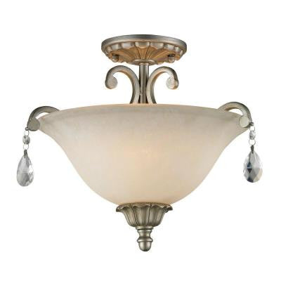 Havana 3-Light Antique Silver Semi-Flush Mount Light