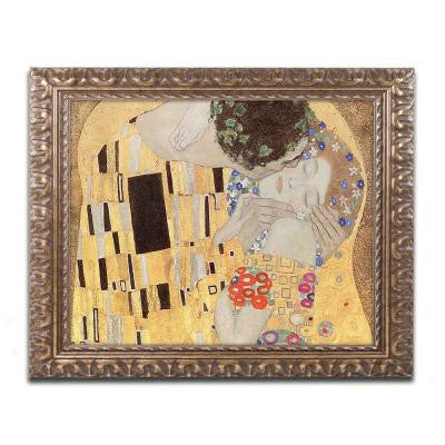 "16 in. x 20 in. ""The Kiss"" by Gustav Klimt Framed Printed Canvas Wall Art"