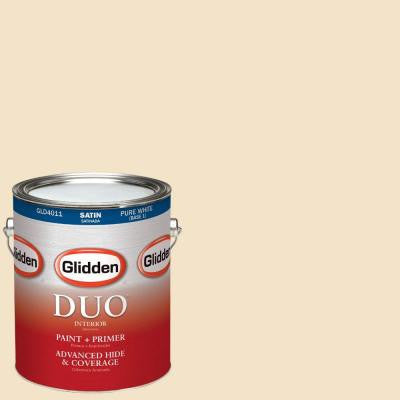1-gal. #HDGY09 Gold Coast White Satin Latex Interior Paint with Primer