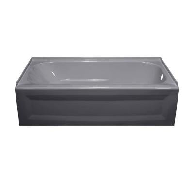 Elite 4.5 ft. Right Drain Soaking Tub in Silver Metallic