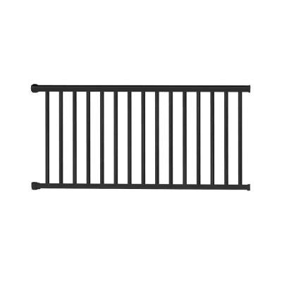 Classic Square 36 in. x 72 in. Textured Black Aluminum Railing Kit
