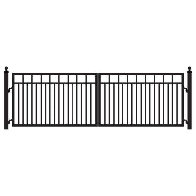 Sanibel 16 ft. x 4 ft. 8 in. Powder Coated Steel Dual Driveway Fence Gate