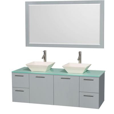 Amare 60 in. W x 22.25 in. D Vanity in Dove Gray with Glass Vanity Top in Green with Bone Basins and 58 in. Mirror