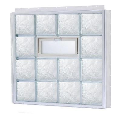 13.875 in. x 11.875 in. NailUp2 Vented Ice Pattern Glass Block Window