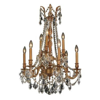 Windsor Collection 9-Light French Gold and Clear Crystal Chandelier