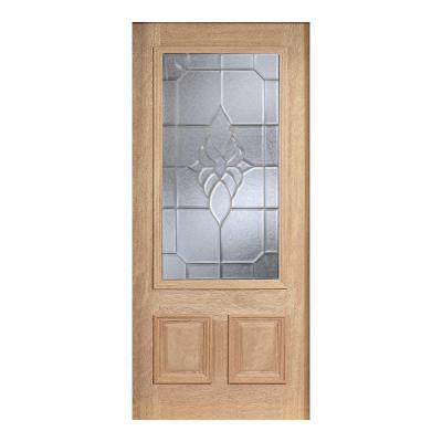 36 in. x 80 in. Mahogany Type Unfinished Beveled Zinc 3/4 Glass Solid Wood Front Door Slab