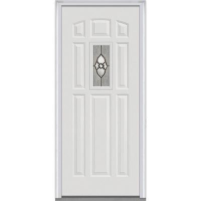 36 in. x 80 in. Master Nouveau Decorative Glass 1/4 Lite 8-Panel Primed White Fiberglass Smooth Prehung Front Door