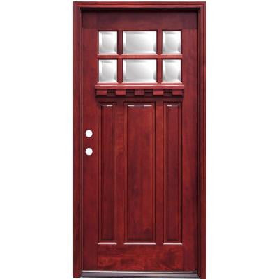36 in. x 80 in. Craftsman 6 Lite Stained Mahogany Wood Prehung Front Door with Dentil Shelf 6 in. Wall Series