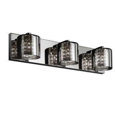 3-Light Chrome Vanity Light with Tinted Glass