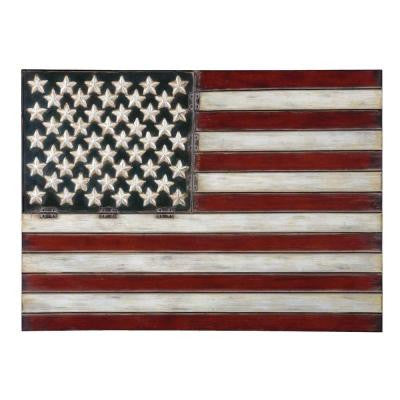 25.74 in. x 36 in. Red White and Blue Iron Wall Art