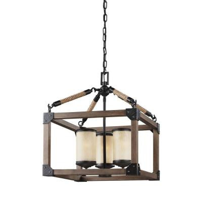 Dunning 3-Light Stardust and Cerused Oak Single Tier Chandelier