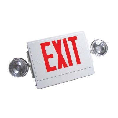 White V-O Flame-Retardant, High Impact, Thermoplastic LED Emergency Exit Sign with Red Lettering and Dual Lighting Heads