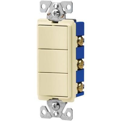 15-Amp 120-Volt 3-Way Decorator 3 Single-Pole Combination Switches - Almond