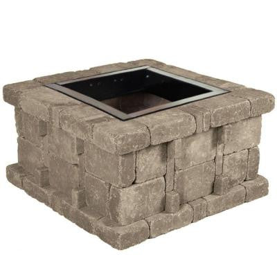 38.5 in. x 21 in. Rumblestone Square Fire Pit Kit in Greystone