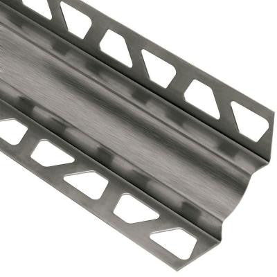 Dilex-EHK Brushed Stainless Steel 7/16 in. x 8 ft. 2-1/2 in. Metal Cove-Shaped Tile Edging Trim