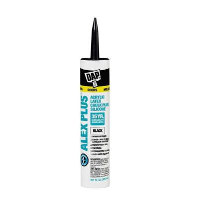 Alex Plus 10.1 oz. Black Acrylic Latex Caulk Plus Silicone (12-Pack)