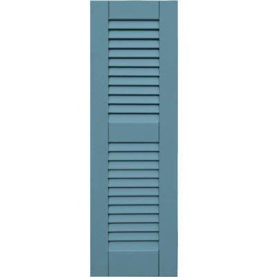 Wood Composite 12 in. x 38 in. Louvered Shutters Pair #645 Harbor