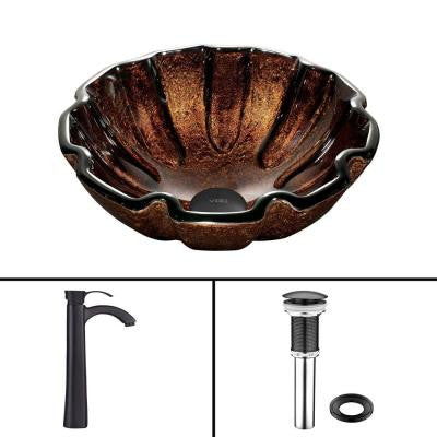 Glass Vessel Sink in Walnut Shell and Otis Faucet Set in Matte Black