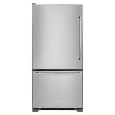 33 in. W 22 cu. ft. Bottom Freezer Refrigerator in Stainless Steel