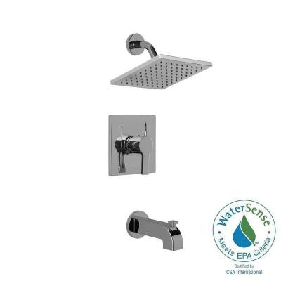 Modern 1-Handle Pressure Balance Tub and Shower Faucet in Chrome