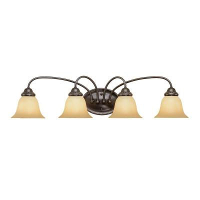 4-Light Colonial Bronze Vanity Light with Champagne Scavo Glass