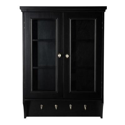 Gazette 23-1/2 in. W Wall Cabinet with Glass Doors in Espresso