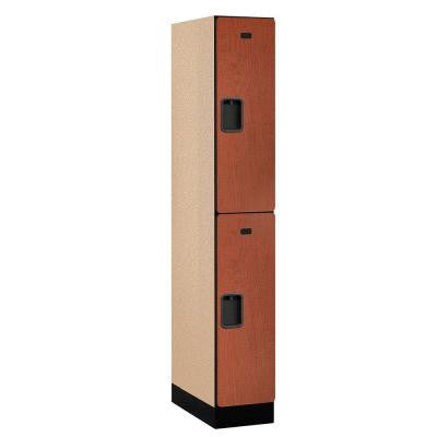 32000 Series 12 in. W x 76 in. H x 21 in. D 2-Tier Designer Wood Locker in Cherry