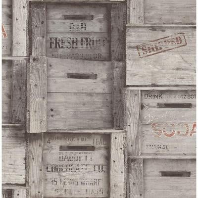 8 in. W x 10 in. H Grey Wood Crates Distressed Wood Wallpaper Sample