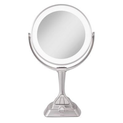 15.75 in. L x 10 in. W LED Variable Lighted Vanity Mirror in Satin Nickel
