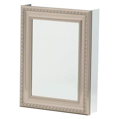 20 in. x 26 in. Recessed or Surface Mount Mirrored Medicine Cabinet with Deco Framed Door in Brushed Nickel