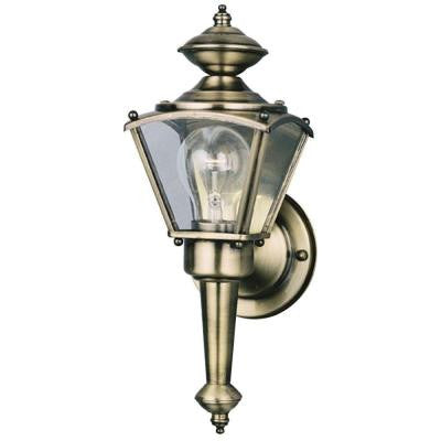 1-Light Antique Brass on Solid Brass Steel Exterior Wall Lantern with Clear Glass Panels